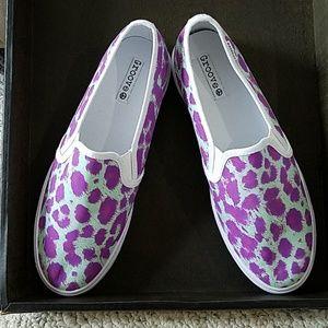 Grooves in aqua & purple leopard print, sz 10